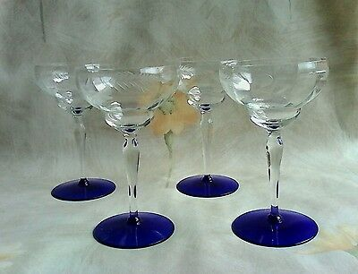 Set of (4) WESTON OPTIC CHAMPAGNE/SHERBET GLASSES ETCHED BOWL & COBALT FOOT