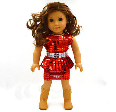"""2015 Hote Sale Doll Clothes fits 18"""" American Girl Handmade Party Red Dress"""