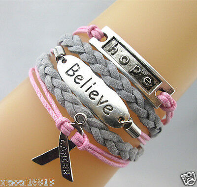 NEW Hope/Believe/Breast Cancer Awareness Sign Charms Suede Braided Bracelet