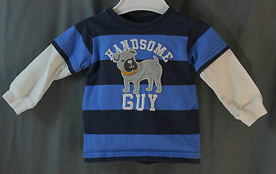 Child of Mine by Carter's 6/9 Mo. Blue Stripe Handsome Guy Shirt