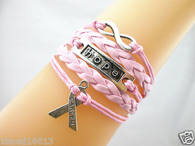 Infinity/Hope/Breast Cancer Awareness Charms Leather Braided Bracelet Light Pink