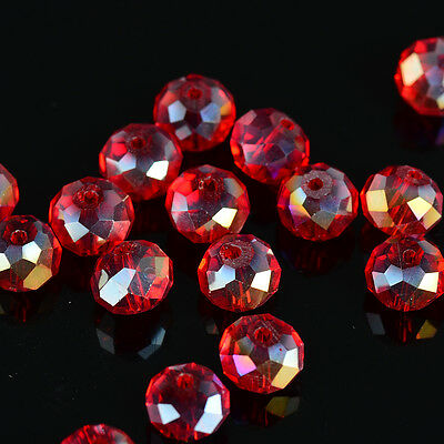 DIY Jewelry Faceted 30pcs red ab #5040 6x8mm Roundelle Crystal Beads!