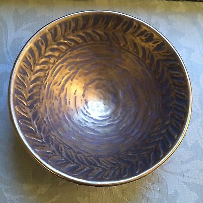 Vintage Gold  Bowl Hand Decorated By Vee Jackson San Gabriel California