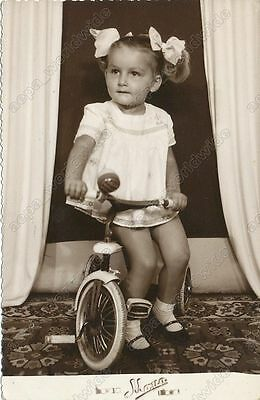 1965 CUTE BABY GIRL POSING WITH TRICYCLE - vintage old photo KOSOV. MIT. SERBIA