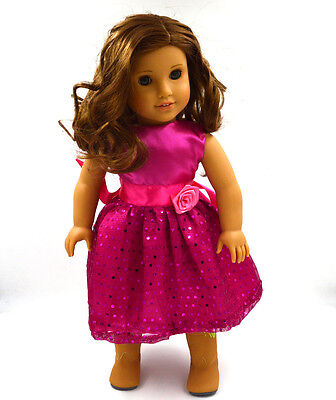"""New Handmade Pink Party Doll's Dress Clothes Fit 18"""" American Girl Doll Clothes"""