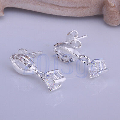 1Pair Silver Plated Earings Ear Studs White Crystal Oval Style Xmas Gift CG