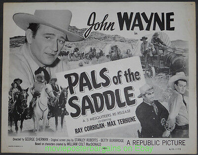 PALS OF THE SADDLE Lobby Card 1938 JOHN WAYNE Re-Release 1953