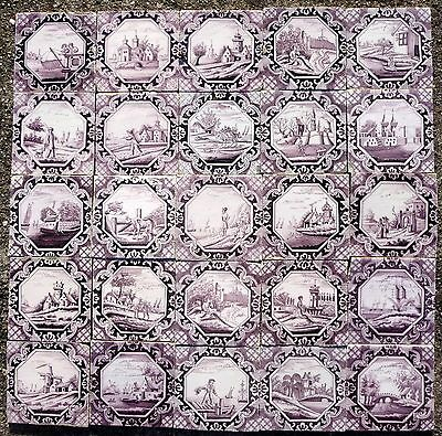 Set of 25 antique Delft tiles with landscapes, 18th century.