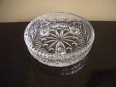 Vintage Clear Pressed Glass Candle Holder Bowl For 3 Tapers - Sawtooth Edge-MINT