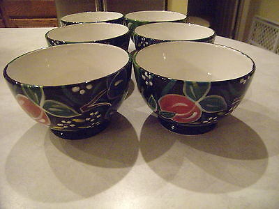 Certified International Soup/Cereal Bowls  - Black W/Fruit Design - NEW