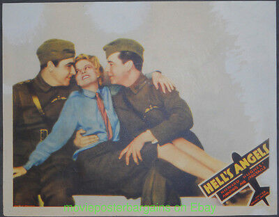HELL'S ANGELS LOBBY CARD size 11x14 MOVIE POSTER  R1930's WWI Film JEAN HARLOW