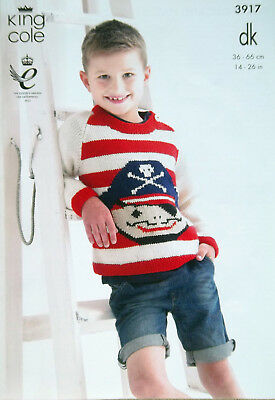 "King Cole  DK Knitting pattern Childs Pirate Jumper  14-26""  3917"