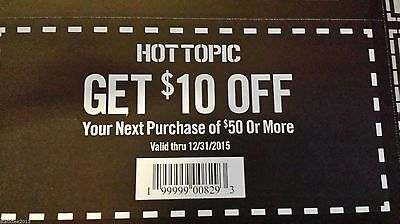 (10) Hot Topic $10 off $50 SAVE $100 Exp Dec 2015!!! PLENTY OF TIME TO USE.