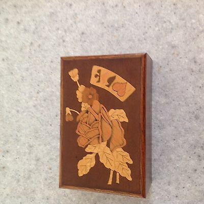 Antique 1950's Playing Card Storage Box with Inlaid Exotic Wood