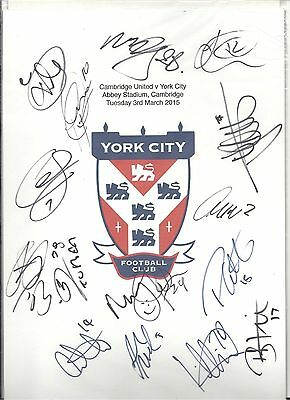 An A4 white card with the York City Badge. Signed by 15 players on 03.03.2015.