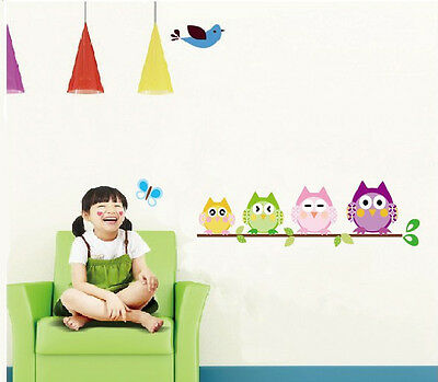 Cute Owl Butterfly Tree Removable Vinyl Decal Wall Sticker Kids Room Home Decor