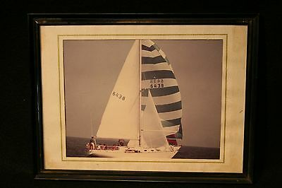 Vintage Family Photograph Sailboat on Water 5X7 1970's Colored Kodak Paper