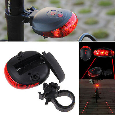 NEW Red 5 LED 7 MODE + 2 LASER BIKE CYCLING BICYCLE SAFETY TAIL LIGHT WARNING
