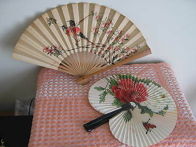 """VINTAGE """"PEOPLES REPUBLIC OF CHINA"""" HANDPAINTED FANS"""