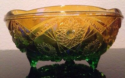 Vintage McKee Yellow Green Flashed Glass Fentec Prescut Hobstar & Arches Bowl