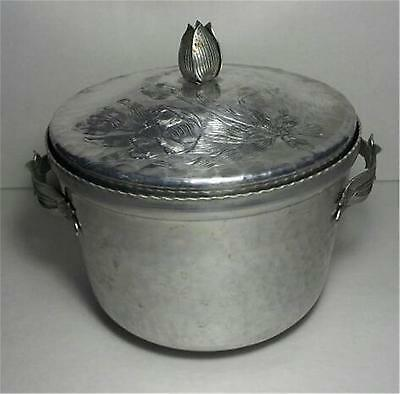 Vintage Hammered Aluminum - Ornate Ice Bucket - Tulip Design - With Defects