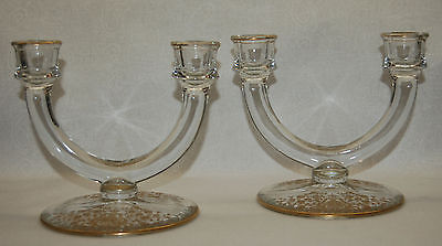 BEAUTIFUL GLASTONBURY LOTUS GOLD ETCHED 'ROSEBUD' TWO-LIGHT CANDLEHOLDERS