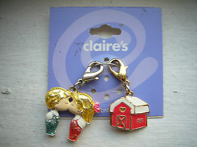 New Claire's  add on CHARM for BRACELET , Kissing Boy & Girl,Love & Home
