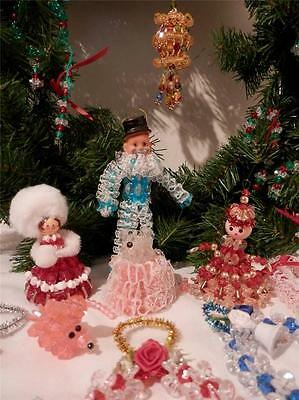 Huge Lot Of 27 Hand Made BEADED/LACE/SAFETY PIN VINTAGE CHRISTMAS TREE ORNAMENTS