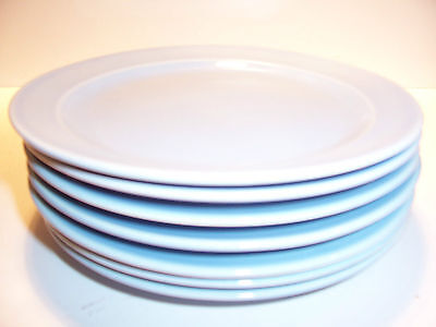 """Vintage Lu-Ray 6 3/8"""" Luncheon Plates Pastel Blue T.S.&T. Luray Set of 7"""