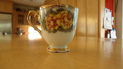 Original  Napco China, Hand  Painted, Cup, Yellow Roses
