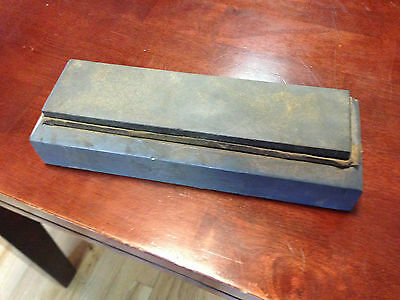 Vintage  NORTON PIKE CO INDIA Oil Honing Stone in  Wooden Box Holder