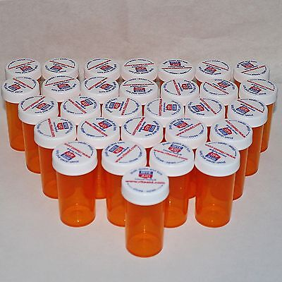 Lot of 28 *EMPTY RX PRESCRIPTION BOTTLES* 13 Dram Plastic Amber Vials Craft Coin