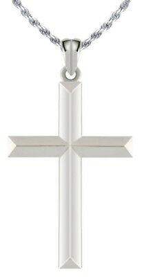 New 0.925 Sterling Silver Cross Religious Charm Pendant Necklace