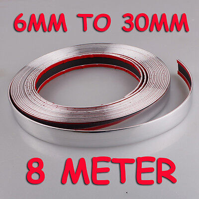 SELF Adhesive Car Styling Moulding Strip Chrome Trim SZ 6mm to 30mm x 7.5 Meter