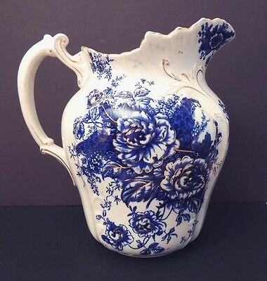Antique Peony Floral Flow Blue Water Pitcher by Stoke Pottery