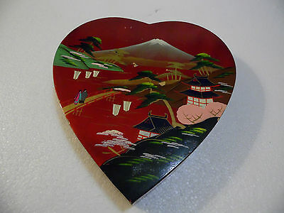 JAPAN  Storage Heart Shape Box  Vintage  Pagoda  Hand Painted Mt Fuji Enamel