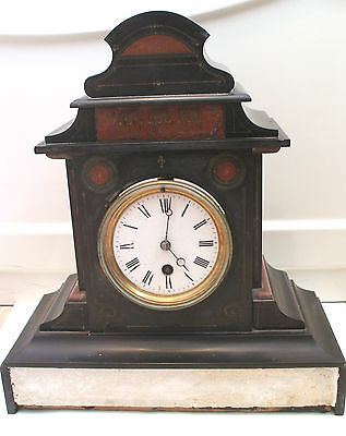 "Marble Case Timepiece Mantle Clock c1900 13.5""H 12""W  5.5""D"