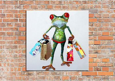Frog oil painting canvas hand-painted animal modern abstract wall art home decor