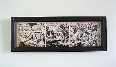 "1953 Original Comic Strip Art George Wunder Terry & Pirates Framed 25""x9"" Signed"