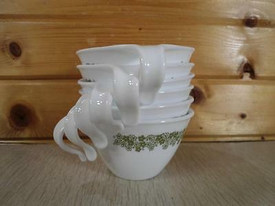 Set of 6 Vintage Corelle Hook Open C Cups - Spring Blossom Green Crazy Daisy