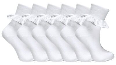 6 Pairs Baby Girls White Cotton rich lace top Socks 0-2 UK, 6-12 Months