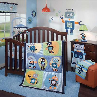 Silly Robots Colorful Patchwork Nursery Boys 5 Piece Bundle Crib Bedding Set