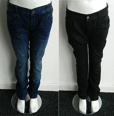 New Boys Cotton Blue Black Straight Regular Jeans Trousers Pants Age 9 - 16 Yrs