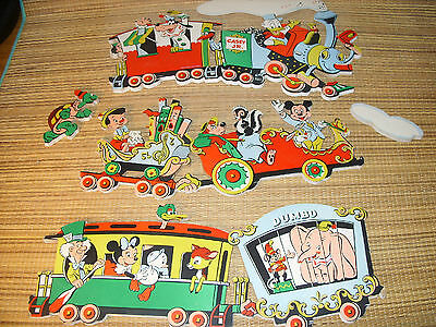 VINTAGE DISNEY 5PC CASEY JR  TRAIN WALL PLAQUE SET FOR NURSERY