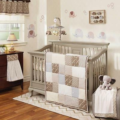 Modern Patchwork Chevron, Zig Zag Neutral Nursery 5 Piece Crib Bedding Set