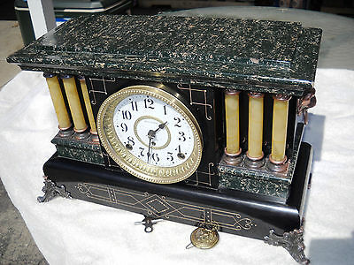 Seth Thomas Antique Adamantine Sheffield Mantle Clock Six Columns 89 C Movement