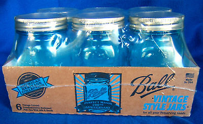BALL PINT BLUE PERFECT MASON HERITAGE JARS 6 - PACK INCLUDES RINGS & LIDS