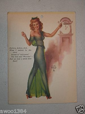 Earl Moran Vintage Red Head Pin Up Girl Hickory Dickory Dock Card