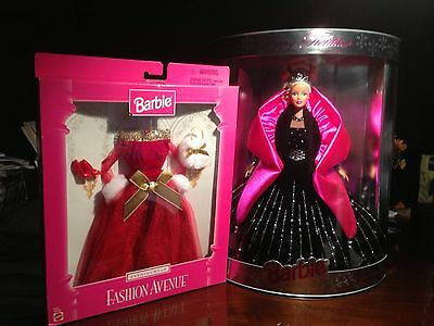 1998 HOLIDAY BARBIE NRFB W/BACKSIDE PRINTING ERROR MINT & 1997 RED EVENING GOWN