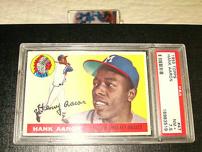 NM+ PSA 7.5 HOFer HANK AARON 1955 TOPPS #47 ( 2nd YEAR BEAUTY, SEE SCANS )
